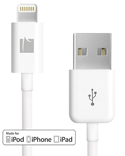 GreatShield (3FT - White) MFI Certified Lightning Cable - 8-pin Sync and Charge Lightning to USB Cable for Apple iPhone, iPad, iPod Touch, iPod Nano and Beat Pill+