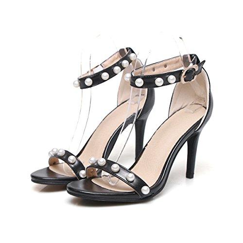 Mujer Al Mei Black Tacones Zapatos amp;s Tobillo Sandalias Aguja De xqwqSHpg