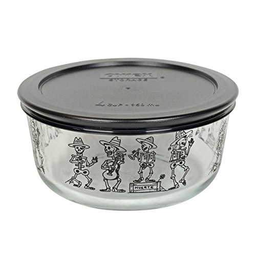 Pyrex 7201 4 Cup Mariachi Skeleton Glass Bowl and (1) 7201-PC Black Lid]()