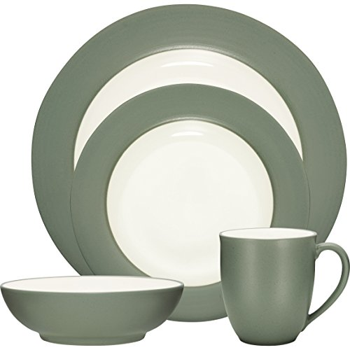 (Colorwave Rim 16 Piece Dinnerware Set, Stoneware Dinnerware (Green))
