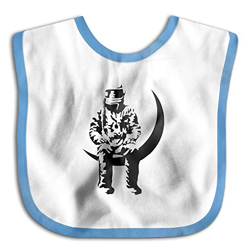 - Safe Cotton Kids Lunch Bibs Crescent Moon Astronaut Baby Saliva Towel Cute Feeding Snap
