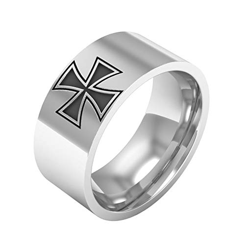 LiFashion LF 8mm Mens Womens Stainless Steel Knights Templar Maltese Cross Ring Retro Empire Cross Wedding Engagement Band for Husband Boyfriend Dad Son Friends Gift Silver,Size 6-13
