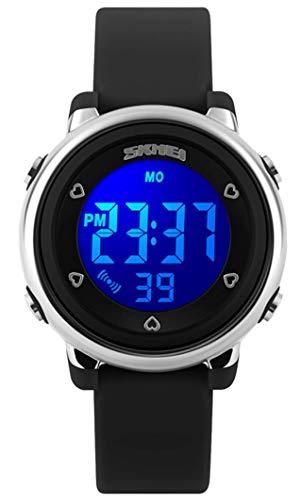 (Kid Watch Multi Function 50M Waterproof Sport LED Alarm Stopwatch Digital Child Wristwatch for Boy Girl Black)