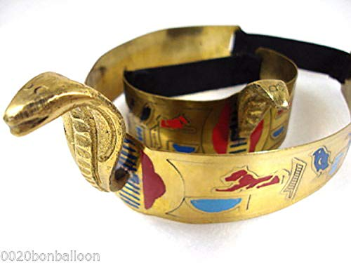 Belly Dance Costume Egyptian Metal Cleopatra Cobra Crown & Armlet Halloween 403 -