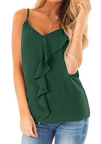 Poulax Women's V Neck Ruffle Front Cami Tank Tops Casual Sleeveless Shirts Blouses,02 Dark Green,L ()