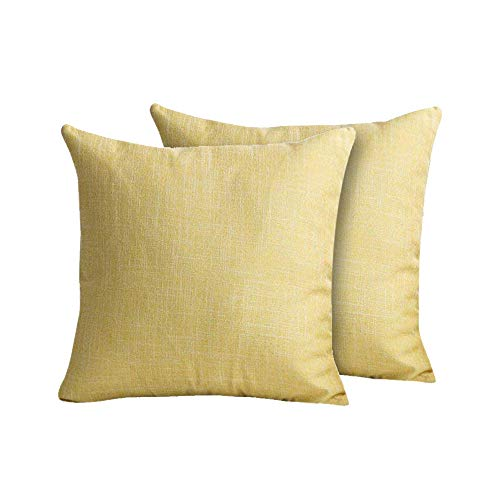Holiday Cotton Linen Home Decorative Pillowcases for Couch Patio Set of 2 Throw Pillow Case Covers,18×18 (Yellow)