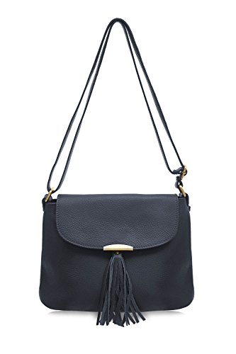 Cross Jinne Leather Italian Bag Di Montte Women's Navy Tassel Soft Shoulder 100 for Gift Body with Bag Women gnRUUSxq