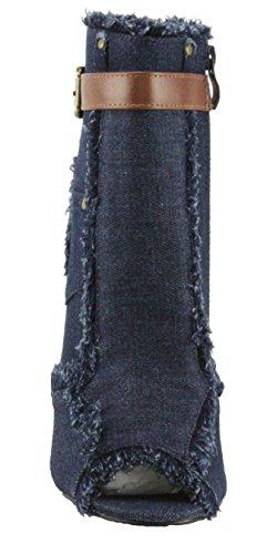 Donne Delle block Toe Stivaletti 10 Tessuto Caviglia alto Scuro Denim Forever Peep Blu Tallone Sherry xwTSgBqg7
