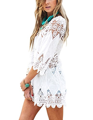 - Women's Bathing Suit Cover Up Lace Crochet Tunic Bikini Beach Dress (M, White)