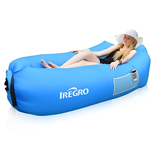 Indoor Air - iRegro Inflatable Lounger, Portable Waterproof Anti-Air Leaking Air Couch Hammock, for Indoor Outdoor Traveling Camping Picnic Hiking Park Pool Beach and Parties