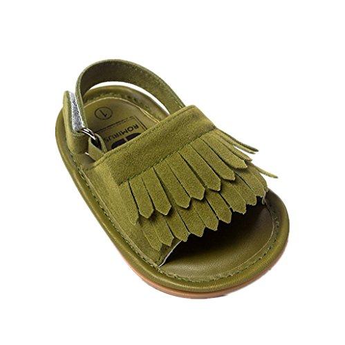 Bebé Prewalker Zapatos Auxma Sandalias de cuero de la princesa Firstwalker de la princesa Soled-Soled de la borla del verano del niño de los bebés Verde oscuro