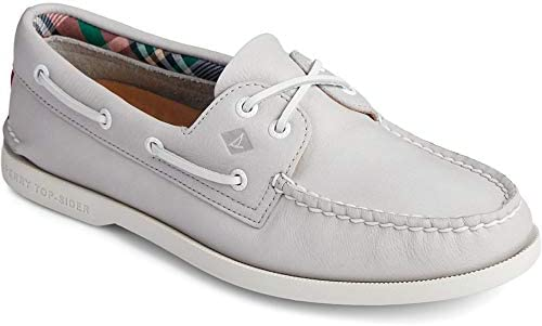 Sperry Women's A/O PlushWave Smooth Leather Boat Shoe, Grey, 7.5 M US