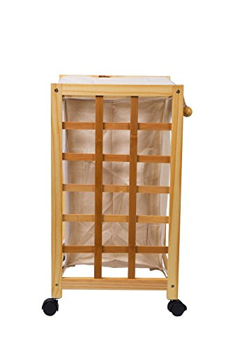 Laundry Hamper Sorter Cart Clothes Basket Storage with Wheels and Cover Bamboo Design by Bamfan (Image #5)