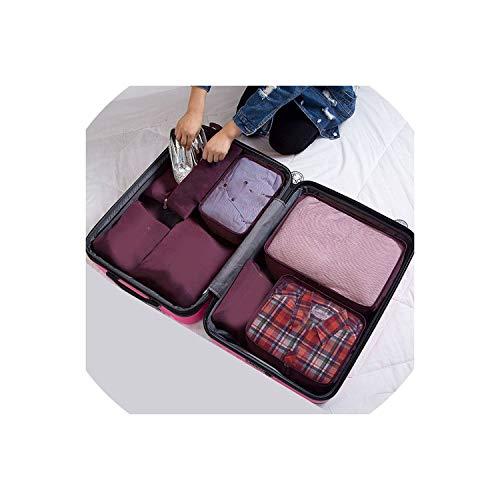 (Women Travel Bag 7Pcs/Set Oxford Cloth Ms Travel Mesh Bag In Bag Luggage Organizer Packing Cube Organiser for Clothing,Wine Red)