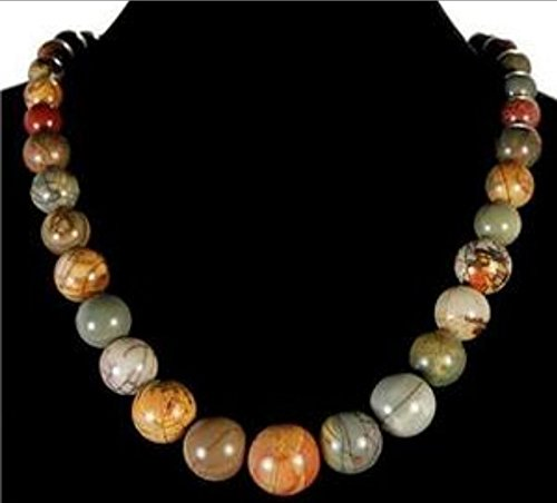 6-20mm Natural Picasso Jasper Round /Coin/Square Beads Pendants Necklace 18