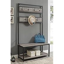 "WE Furniture Industrial Metal and Wood Hall Tree in Grey Wash - 72"""