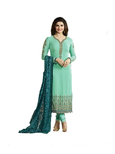 Ready Made New Designer Indian/Pakistani Fashion Salwar Kameez for Women (Turquoise, MEDIUM-40) - Kameez Dress