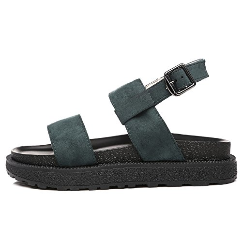 QQWWEERRTT Sandalias de Moda Summer New Flat Student Universal Simple Vintage Rome Zapatos de Plataforma Verde oscuro