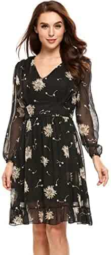 ACEVOG Women s Casual Chiffon Floral Printed V Neck Long Sleeve Fit Flare  Dress (XL 44bbc6c5d
