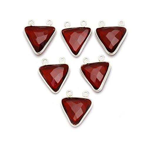 Pendant 15mm Trillion (Elegantjewels 6 Pcs Garnet Quartz 15x15mm Trillion Sterling Silver Double Bail Connector Pendant,Handmade Pendant)