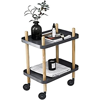 Charmant Sofa Side Table With Wheels, Metal Tray End Table Living Room Bedroom,  2 Tier Nightstand Utility Rolling Cart, Gray