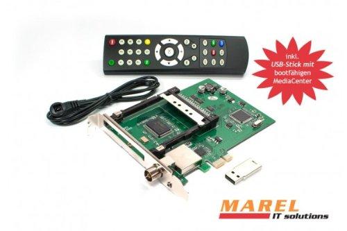 DVBSky T980C PCIe Karte mit 1x DVB-T2 / DVB-C Tuner und CI Common Interface Slot für PayTV, keine CD stattdessen partitionierter USB Stick mit Windows Software inklusive bootfähigem Linux Media Center