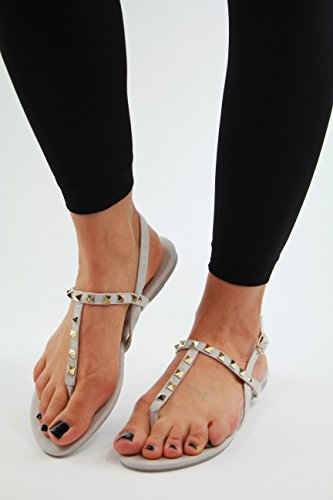 Grey Toe Studded Womens New Strap Shoes Ladies Summer Post Flat Sandals Ankle ZPa6x