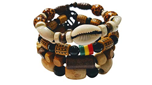NOVARENA 2-24 Pcs Bracelets and Necklaces for Men Women Beaded Bracelets Multi Layer Stackable Ethnic Tribal African Traditional (4 Pcs Bracelets Set - Style A)