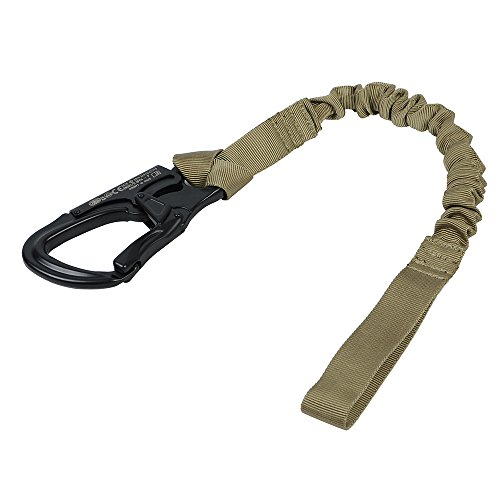 650KG Loading Capacity Quick Release Sling Tactical Elastic Safety Lanyard Belt 1000D Nylon Tactical Combat Equipment (Khaki) (Safety Sling)