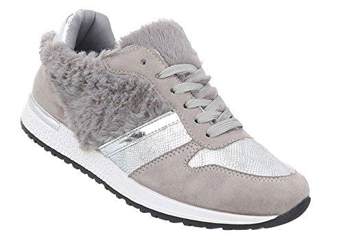 Schuhcity24 Damen Schuhe Freizeitschuhe Sneakers Grau