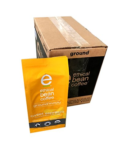 Ethical Bean Coffee - Sweet Espresso Ground Coffee 8 oz (Pack of 6)