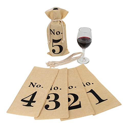 Houseables Wine Tasting Bags, Blind Bottle Cover with Rope, 6