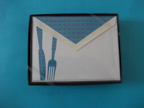 (William Arthur 22-B49439 Fork and Knife Card 10 Cards With Lined Envelopes)