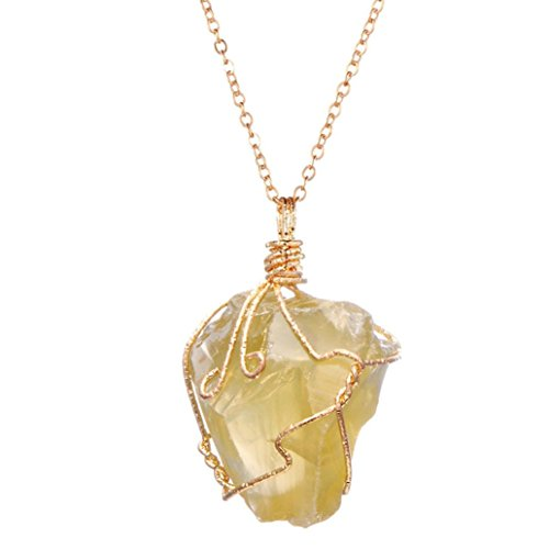 Without Stones Yellow Pendant - Clearance Women's Necklace,Jushye Fashion Rainbow Stone Natural Crystal Chakra Rock Necklace Quartz Pendant (Yellow)
