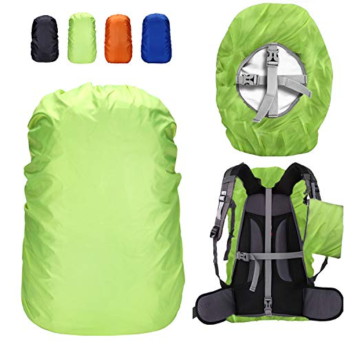 ZM-SPORTS 30-80L Upgraded Waterproof Backpack Rain Cover,with Vertical Adjustable Fixed Strap Avoid to Falling,Gift with Portable Storage Pack (Green, XL(for 50-65L Backpack) by ZM-SPORTS