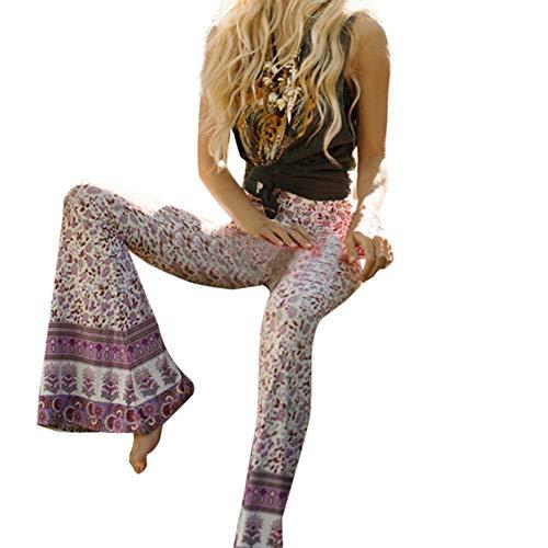 Donna pantaloni da alta Smocked Spiaggia sportivi con vita sportivi Boho a Rosa vita a Pants casual pantaloni a donna con Pantaloni Harem Waist stampa da Pantaloni bassa zampa d'elefante YanHoo dP0qtP