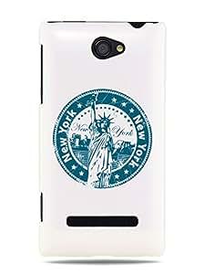 "GRÜV Premium Case - ""Vintage Stamp NYC New York Statue of Liberty"" Design - Best Quality Designer Print on White Hard Cover - for HTC Windows Phone 8S"