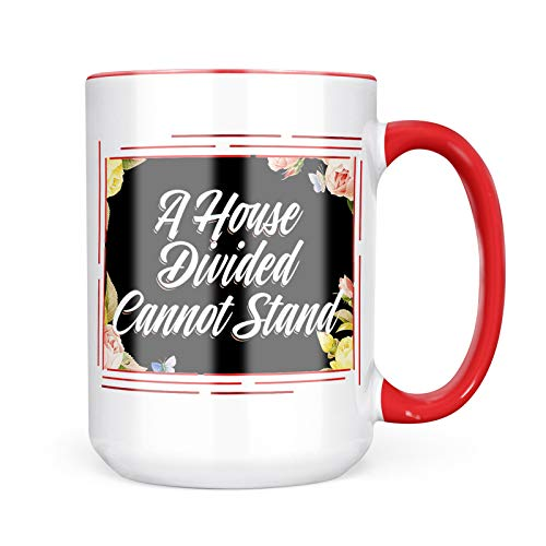 - Neonblond Custom Coffee Mug Floral Border A House Divided Cannot Stand 15oz Personalized Name
