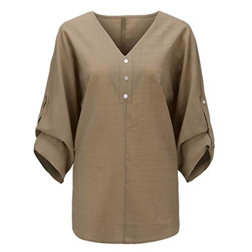 FRENDLY Women Fashion Plus Size Solid Casual Linen V-Neck Button Blouse T-Shirt Summer Loose Casual Shirts Blouses Khaki