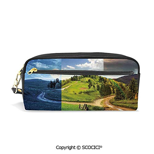 Girls Boys 3D Printed PU Pencil Case Holders Bag with Zipper Collage of Three Autumn Scene on Cross Road Hillside Meadow in Mountain Range Stationery Makeup Cosmetic Bags Back to - Cabelas Stove