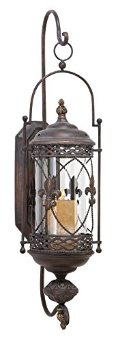 Deco 79 68448 Metal & Glass Candle Sconce Fleur De Lis Metal