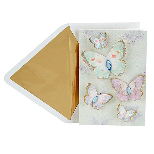 Pansy Note Card - Hallmark Signature Blank Greeting Card (Sparkle Butterfly)