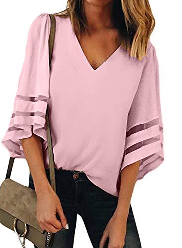 BLENCOT Womens Summer 3/4 Bell Sleeve V Neck Sheer Patchwork Pink Chiffon Blouse Casual Shirt Tops Medium