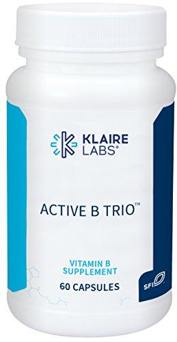 Klaire Labs Active B Trio - B12 as Methylcobalamin, Metafolin Folate & B6 as P-5-P (60 Capsules)