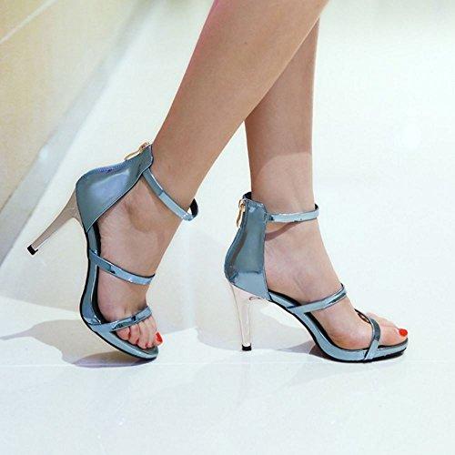COOLCEPT Damen Mode Knochelriemchen Sandalen Open Toe Stiletto Schuhe Mit Zipper Blau