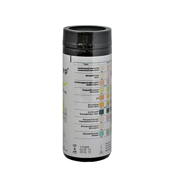 100 Tiras Reactivas para análisis de orina de 10 Parámetros: Leucocitos, nitritos, urobilinógenos, proteínas, pH, sangre… 6