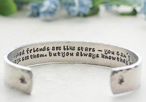 Good Friends Are Like Stars MEDIUM Size Hand Crafted Cuff Bracelet Birthday Gift BFF