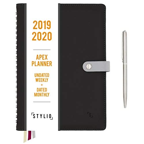 STYLIO Apex Planner - 2019/2020 Weekly Monthly Undated Personal Agenda Organizer w Calendar for Business/Academic/School & Student Daily Notebook/Productivity Journal/Goals (Ash)