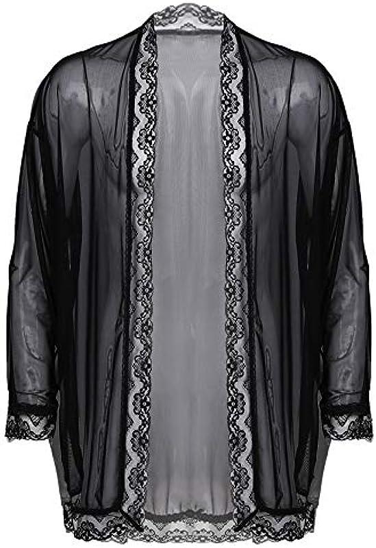 renvena Męska przezroczysta koszula koszula z dzianiny kardigan topy z guzikami Sissy Dessous bielizna erotyczna do klubu, na imprezę: Odzież