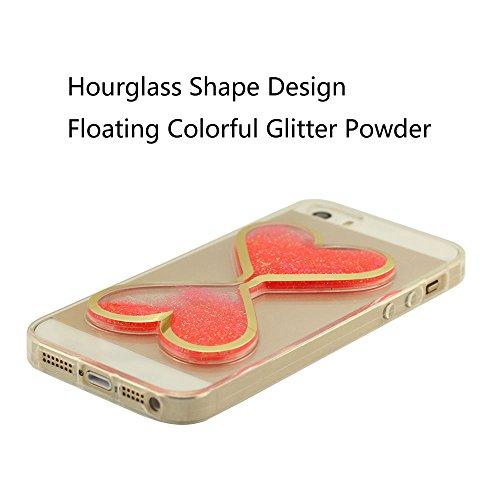 Sablier Modélisation Série - iPhone 5S Coque Case, Crystal Clear Transparent Liquide Flottant Briller Poudre Polychrome (Orange, Rouge, Bleu, Jaune, Vert) Svelte Flexible Housse Étui de Protection pou